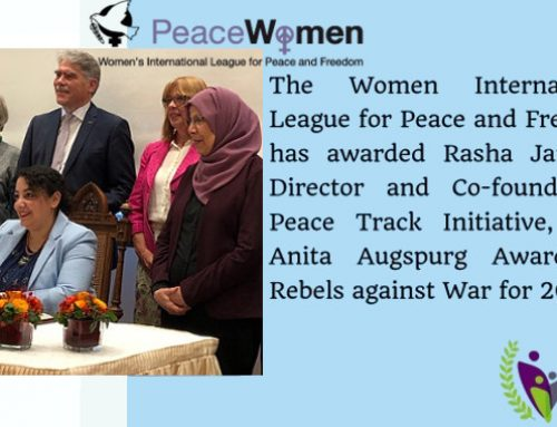 "Press Release: IFFF/WILPF awards Rasha Jarhum the ""Anita Augspurg-award for rebels against war"" – Anita-Augspurg-Preis 2019 im Rathaus zu Verden an Rasha Jarhum"